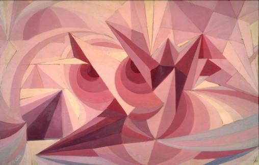 Giacomo Balla, Linee forza di paesaggio + sensazione di ametista, 1918