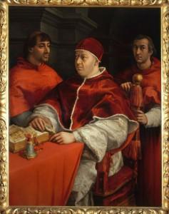 """Raffaello, """"Ritratto di papa Leone X con i cardinali Giulio de' Medici e Luigi de'Rossi"""", 1517-1518, olio su tavola, Firenze, Galleria degli Uffizi"""